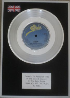 ABBA - 7 inch Platinum Disc - THANK YOU FOR THE MUSIC